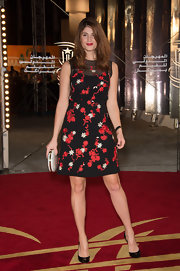Gemma wore this fun embroidered cocktail dress with a sheer decolletage for the Marrakech Film Festival.