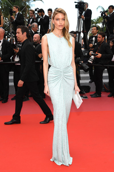 Martha Hunt Satin Clutch [the wild pear tree,fashion model,flooring,gown,carpet,fashion,shoulder,dress,red carpet,girl,haute couture,martha hunt,screening,cannes,france,red carpet arrivals,cannes film festival,palais des festivals]