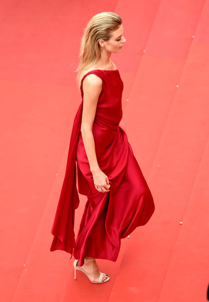 Martha Hunt Strappy Sandals [fashion model,clothing,dress,red,shoulder,cocktail dress,gown,fashion,lady,blond,red carpet arrivals,martha hunt,amant double,screening,cannes,france,cannes film festival,palais des festivals]