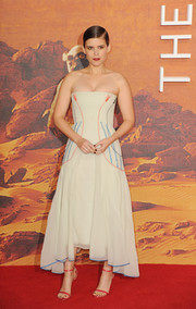 Kate Mara donned a Christian Dior Couture strapless dress, in palest mint green with contrasting embroidery, for the European premiere of 'The Martian.'