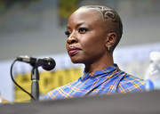 Danai Gurira looked oh-so-cool with her patterned buzzcut at the Comic-Con 2017 Marvel Studios panel.