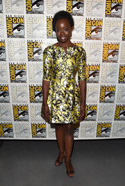 Danai Gurira chose a classic Oscar de la Renta print dress for the Marvel Studios panel during Comic-Con.