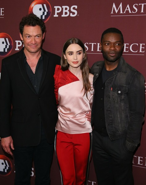 More Pics of Lily Collins Off-the-Shoulder Top (1 of 14) - Tops Lookbook - StyleBistro [premiere,event,carpet,pasadena,california,masterpiece photo call,dominic west,david oyelowo,lily collins]