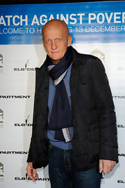 Pierluigi Collina looked both stylish and cozy in a black pinstripe down jacket.