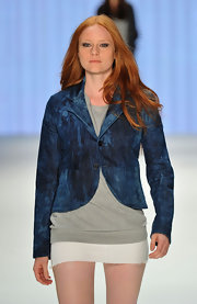 Barbara Meier walked the runway of Mercedes Benz Fashion Week in a casual Mavi denim blazer.