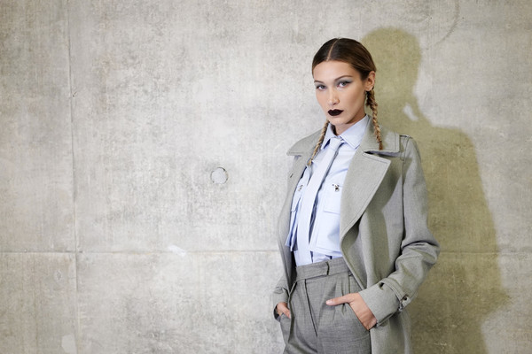 More Pics of Bella Hadid Button Down Shirt (5 of 11) - Bella Hadid Lookbook - StyleBistro [clothing,suit,fashion,outerwear,formal wear,street fashion,jacket,blazer,collar,cool,max mara - backstage,bella hadid,milan,italy,max mara,milan fashion week,fashion show,milan fashion week spring]