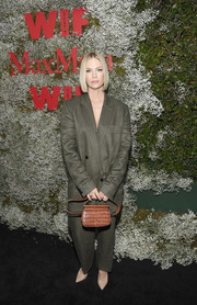 January Jones went masculine-chic in an oversized pantsuit at the InStyle Max Mara Women in Film celebration.