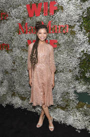 Storm Reid looked lovely in a blush midi dress with gold embroidery at the InStyle Max Mara Women in Film celebration.