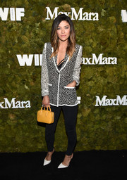 Jessica Szohr was casual yet smart in a black-and-white square-print blazer by Max Mara teamed with skinny jeans at the Women in Film Face of the Future Award.