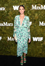 Moran Atias kept the cool colors coming with a pair of green ankle-cuff sandals by JustFab.