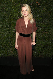 Jessica Stam was laid-back and chic in a short-sleeve brown jumpsuit by Max Mara at the Face of the Future event.