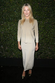 Ali Larter was low-key in a nude knit top by Max Mara while attending the Face of the Future event.