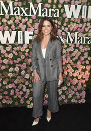 Sophia Bush chose a loose gray pantsuit by Max Mara for the 2017 Face of the Future event.