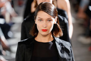 Bella Hadid sported a simple, neat half-up bob at the Max Mara runway show.