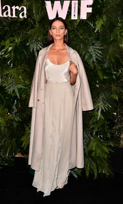 Angela Sarafyan donned a slinky white camisole for the Max Mara WIF Face of the Future event.