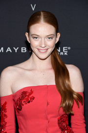 Larsen Thompson styled her hair into a center-parted ponytail for the Maybelline x V Magazine party.