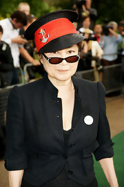 Yoko Ono attended the Meat Free Monday launch in a sailor-inspired hat with an embroidered gold anchor.