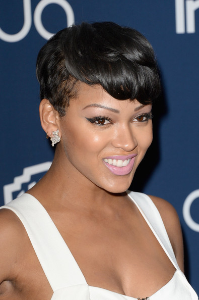 Meagan Good Pixie [hair,hairstyle,face,eyebrow,chin,black hair,beauty,lip,forehead,bangs,meagan good,post-party - arrivals,beverly hills,california,instyle,warner bros. 71st annual golden globe awards,warner bros. 71st annual golden globe awards post-party]