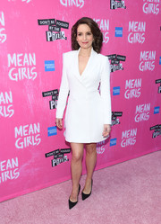 Tina Fey looked impeccable in a white tuxedo dress by Gabriela Hearst at the Broadway opening of 'Mean Girls.'