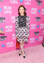 Ellie Kemper went mod in a Vivetta mini dress that featured a vibrant mix of floral ad geometric prints for the Broadway opening of 'Mean Girls.'