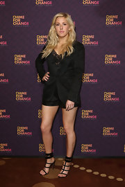 Ellie Goulding showed off her cool rocker style with this printed black short suit paired over a lace cami.