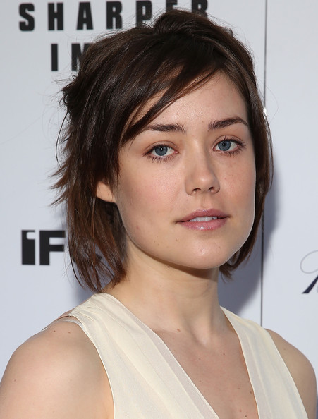 Megan Boone Layered Razor Cut [hair,face,hairstyle,eyebrow,chin,shoulder,forehead,beauty,lip,brown hair,megan boone,gods pocket,screening,new york,ifc center,screening]
