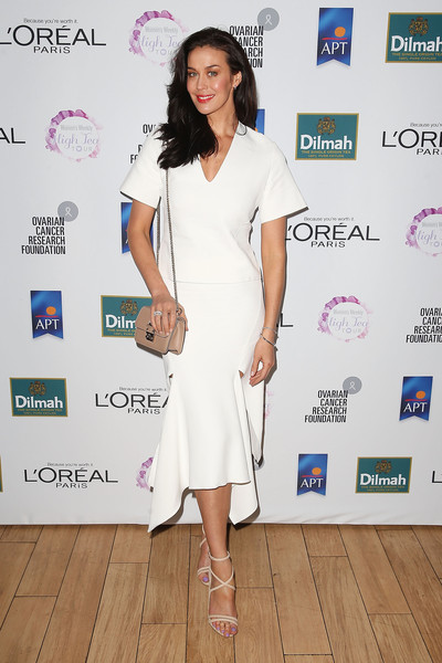 Megan Gale Strappy Sandals [white,clothing,dress,shoulder,fashion,cocktail dress,red carpet,fashion design,footwear,joint,megan gale,ocrf high tea,ocrf high tea sydney,australia,australian womens weekly,centennial parklands dining]