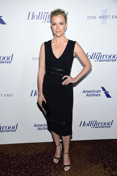 Megyn Kelly Strappy Sandals [the hollywood reporter,dress,clothing,cocktail dress,little black dress,fashion,shoulder,footwear,fashion design,carpet,event,people,megyn kelly,media,new york city,the pool,hollywood reporter]