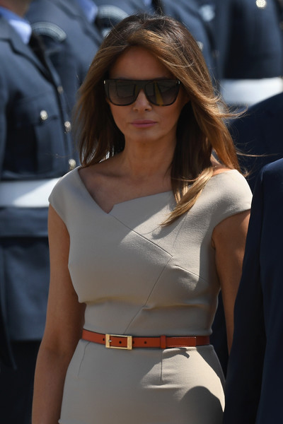 Melania Trump Skinny Belt [donald trump,melania trump,theresa may,president,the first lady,eyewear,hair,white,sunglasses,lady,clothing,beauty,blond,fashion,street fashion,uk,u.s.,stansted airport,england,essex]