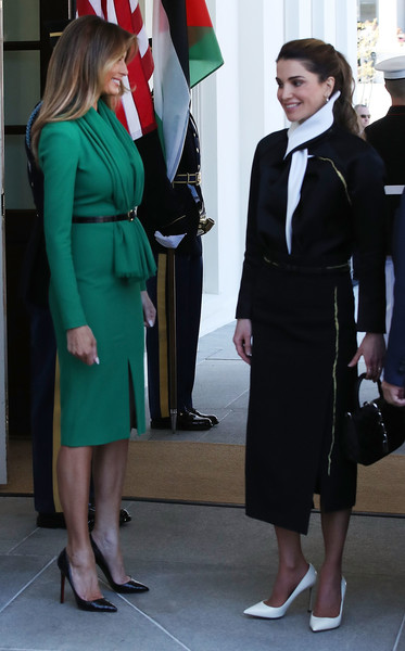 Melania Trump Cocktail Dress [photo,formal wear,suit,standing,fashion,girl,outerwear,uniform,costume,gentleman,tuxedo,rania to white house,trump and first lady welcome jordan,king abdullah,queen,melania trump,donald trump,brendan smialowski,washington dc,afp]