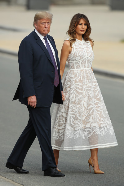Melania Trump Embroidered Dress [suit,white,clothing,formal wear,lady,fashion,dress,standing,tuxedo,event,donald trump,melania trump,leaders,member,u.s.,brussels,world leaders meet for nato summit,nato,reception,dinner]