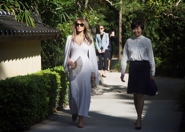Melania Trump Maxi Dress [photograph,white,fashion,dress,botany,ceremony,event,photography,wedding,fun,melania trump,shinzo abe,akie abe,wife,us,japanese,morikami museum,japanese gardens,l,tour]