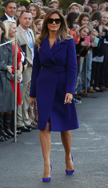 Melania Trump Pumps [blue,cobalt blue,footwear,electric blue,fashion,fashion model,formal wear,suit,purple,flooring,trump,donald trump,president,mrs,white house,asia,us,country,trip,trip,melania trump,donald trump,ivanka trump,fashion,model,united states of america,clothing,first lady of the united states]