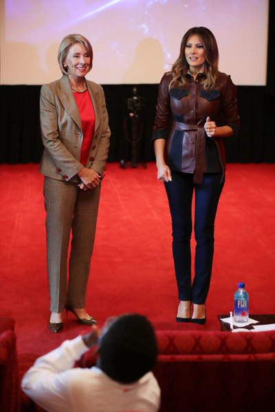 Melania Trump Skinny Jeans [motion picture,red,event,fashion,performance,conversation,melania trump,students,betsy devos,first lady,trump\u00e2,students,importance,movie theater,white house for national bullying prevention month]