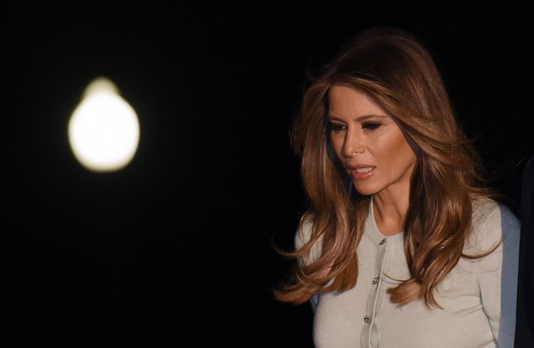 Melania Trump Feathered Flip [hair,face,blond,beauty,lip,brown hair,hairstyle,lighting,long hair,chin,president,melania trump,donald trump,trump returns,white house,saudi arabia,italy,israel,brussels,trip]