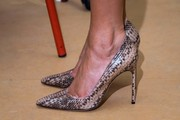 Melania Trump donned a pair of Manolo Blahnik snakeskin pumps for her visit to the Queen Fabiola Children's Hospital in Brussels.
