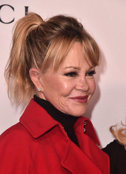 Melanie Griffith Ponytail [hair,hairstyle,blond,chin,lip,brown hair,long hair,hair coloring,chignon,neck,arrivals,melanie griffith,beverly hills,california,the beverly hilton hotel,equality now,annual make equality reality gala]