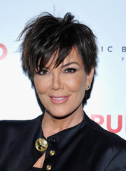 Kris Jenner looked cool with her messy 'do during Brian Atwood's celebration of PUMPED.
