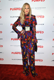 Rachel Zoe sported a vibrant mix of colors in this Balmain printed jumpsuit during Brian Atwood's celebration of PUMPED.