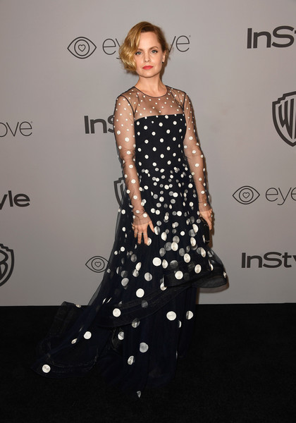 Mena Suvari Embroidered Dress