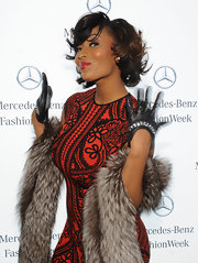 Toccara Jones showed off her blingy leather gloves at Fashion Week.