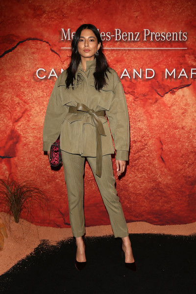 Jessica Gomes was safari-chic in a khaki pantsuit by Camilla and Marc during the label's Resort 2019 show.