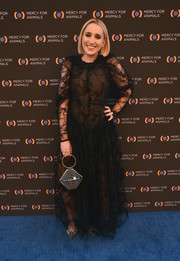 Harley Quinn Smith went for modern styling with a silver cage purse.