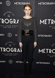 Zosia Mamet paired her top with black capri pants, also by Jill Stuart.