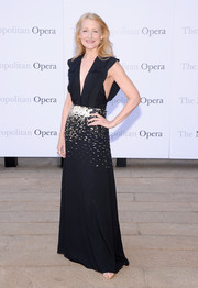 Patricia Clarkson looked ultra sophisticated at the 'Eugene Onegin' opening in a black evening dress with a plunging neckline and waist embellishments.