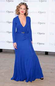 Margarita Levieva stepped out in a sophisticated cobalt evening dress with a plunging neckline at the 'Eugene Onegin' opening.