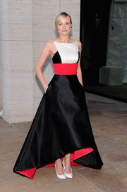 Diane Kruger paired white satin pumps with her tricolor gown for a flawless finish at the 'Eugene Onegin' opening.