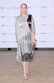 Amy Sacco's bedazzled T-strap sandals at the 'Eugene Onegin' opening provided a glamorous finish to her simple outfit.