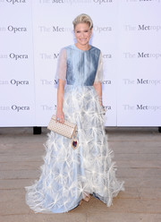 Julie Macklowe looked regal in a pastel-blue evening dress with an appliqued skirt at the 'Eugene Onegin' opening.