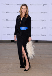 Mischa Barton opted for a black robe dress with a thigh-high slit when she attended the 'Eugene Onegin' opening.